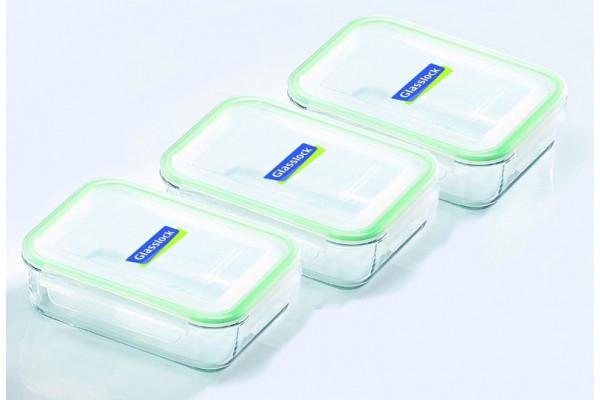 Sklenené dózy na potraviny - obdĺžnikové 3 ks MCRB100 - 1000ml
