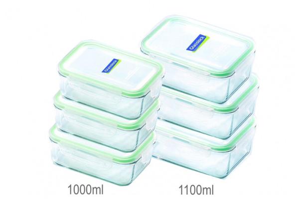 Sklenené dózy na potraviny - obdĺžnikové 6 ks - 1000ml, 1100ml
